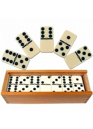 Generic - Mini Domino de 28 Fichas en Cajita de Madera